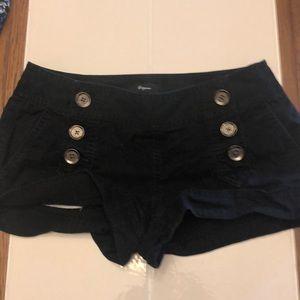 Black button front shorts